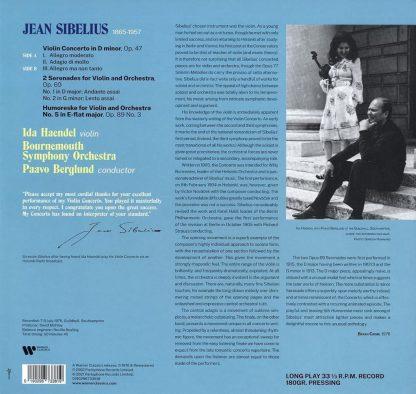 Photo No.2 of Jean Sibelius: Violin Concerto, Serenades & Humoreske - Vinyl Edition (180g)