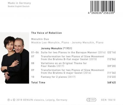 Photo No.3 of The Voice Of Rebellion - Piano Duo Works By Jeremy Menuhin