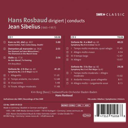 Photo No.2 of Rosbaud Conducts Sibelius: Symphonies Nos. 2, 4 & 5 & 3 Lieder