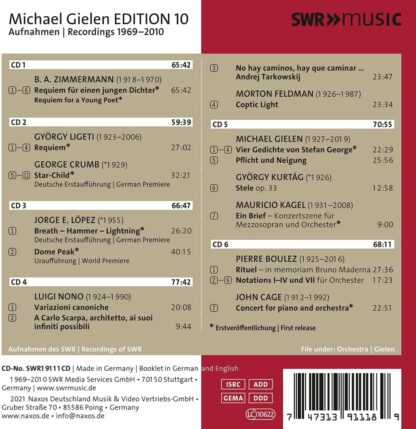Photo No.2 of Michael Gielen Edition Vol. 10: Music after 1945