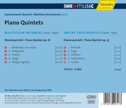 Photo No.2 of Mieczyslaw Weinberg & Dmitry Shostakovich: Piano Quintets